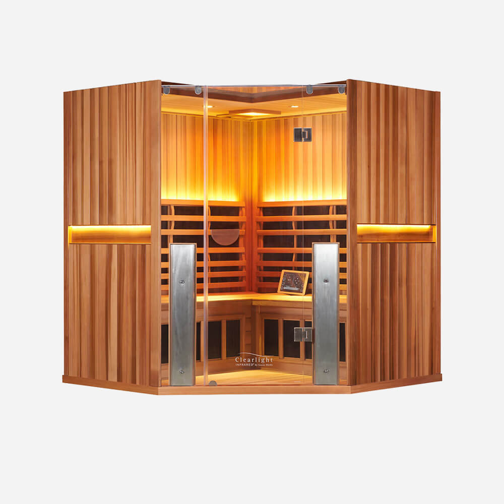 4-Person Clearlight Sanctuary Full Spectrum Corner Sauna Cedar 1